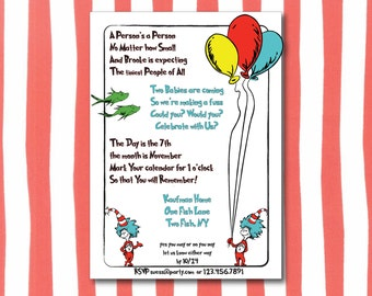 Dr. Seuss Theme Twin Baby Shower Invitation (Printable) - Digital Download - Thing One & Thing Two - Primary Colors