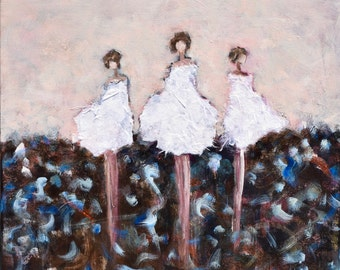 Large Figurative Painting  daughter mother sister friends  family painting  Together We  30x30   Swalla Studio
