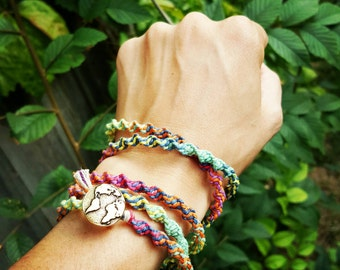 Rainbow Multicolor Macrame Hemp Necklace Bracelet Wrap Antique Silver Gold Indie Hemp Works Brand Simple Collection Minimal Earthy Boho Chic