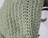 "Knitted ""Mint Green"" Beanie,  Slouchy Head Accessory,  Boho-chic***FREE SHIPPING (USA address only)"