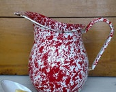 Red and White Enamel Splatter Ware Vintage Pitcher - Water Milk Juice Pitcher - Garden Water Can - Large Vintage Enamel Kitchen Decor