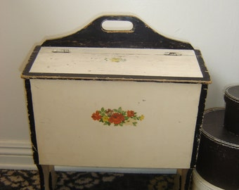 Antique Primitive Sewing Box ~ Shabby Large Wooden Seamstress Knitting Storage ~ Vintage Case ~ Carry Handle ~ Decals
