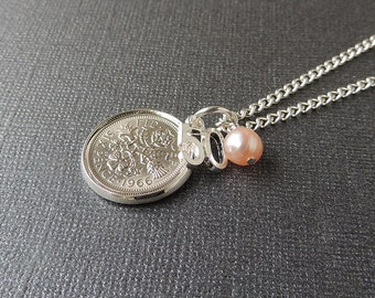 50th Birthday Necklace with 1966 Sixpence Number 50 Charm & Pearl, 50th Birthday, 50th Anniversary, Birthday Jewelry, UK, 199