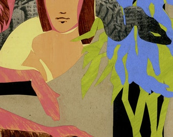 original collage, mixed media, figurative, figure drawing, nature, Eve in the Garden IV, color