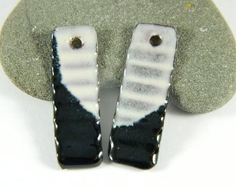 Gray and Black Enameled Earring Components