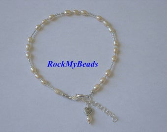 Beige Pearl Ankle Bracelet - Anklet, ankle jewelry, leg jewelry, pearls, pearl anklet
