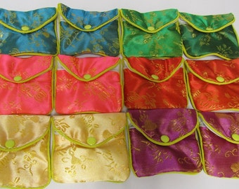 12 Pack Silk Pouches with Zipper // CHINESE BROCADE CUTE //
