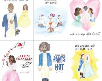 Hamiltines - Hamilton Valentine Postcards - Set of 6 Cards - Love - Anniversary - Valentine's Day - Engagement - Funny