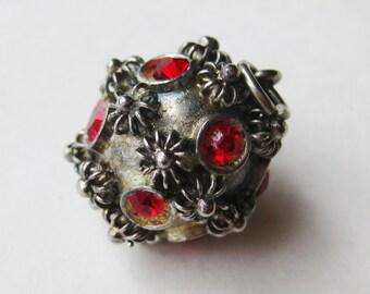 Vintage 40s Italian 800 Silver Etruscan Jeweled Fob Bracelet Charm Pendant