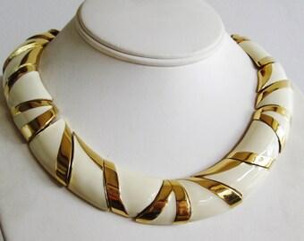 Vintage Ciner Gold & Cream Enamel Panel Link Designer Collar Choker Necklace
