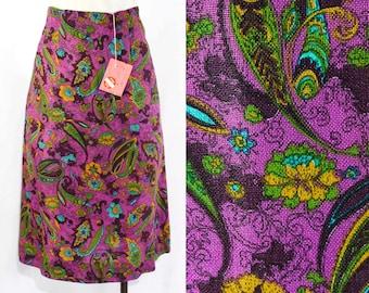 Size 0 Skirt - XXS 1960s Purple Paisley Summer Skirt - Linen Look Rayon - 60s Turquoise Blue - Olive Green - Mustard - Waist 23 - 16468-3