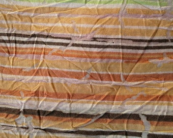 Striped Crinkled Look Textured Fabric, Orange, Green, Brown 2 Yards X0484