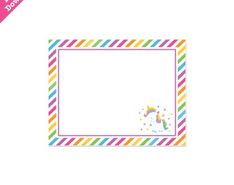 50% Off Sale! - PRINTABLE Rainbow Unicorn Party Fancy Labels - INSTANT DOWNLOAD