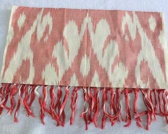 Uzbek handwoven Coral ikat scarf