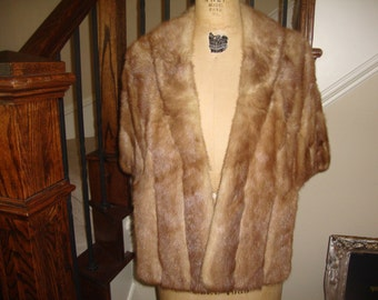 Vintage 50's Light tan brown Fur Stole cape AMAZING