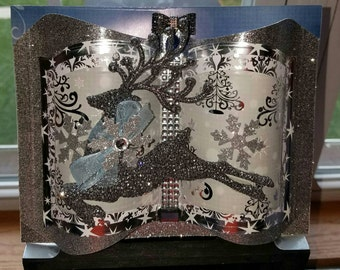 3D Embellished Holiday Greeting Card Keepsake and Matching Gift Box - Happy Holidays - Crafted by Hand