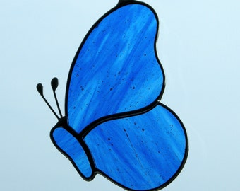 Stained Glass ornament (Butterfly) blue and clear streaky glass