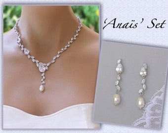 Crystal Jewelry Set, Crystal Necklace and Earrings Set, Crystal Bridal Jewelry, ANAÏS