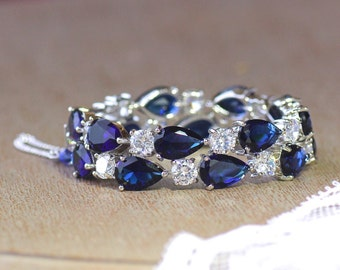 Blue Bracelet, Wide Cuff Bracelet, Sapphire Bracelet, Crystal Bridal Bracelet, Something Blue, Wedding Jewelry, TESSA S
