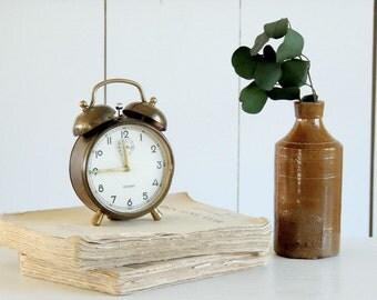 BEAUTIFUL Vintage Aged Brass German Alarm Clock West Germany