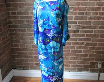 Blue Floral Hawaiian Maxi Dress from the 70s, Size Medium