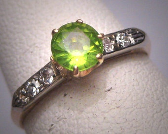Antique Peridot Diamond Wedding Ring Art Deco 14K Vintage 20s