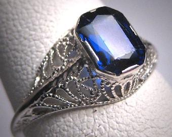 Antique Sapphire Wedding Ring Art Deco Vintage White Gold Filigree 20s