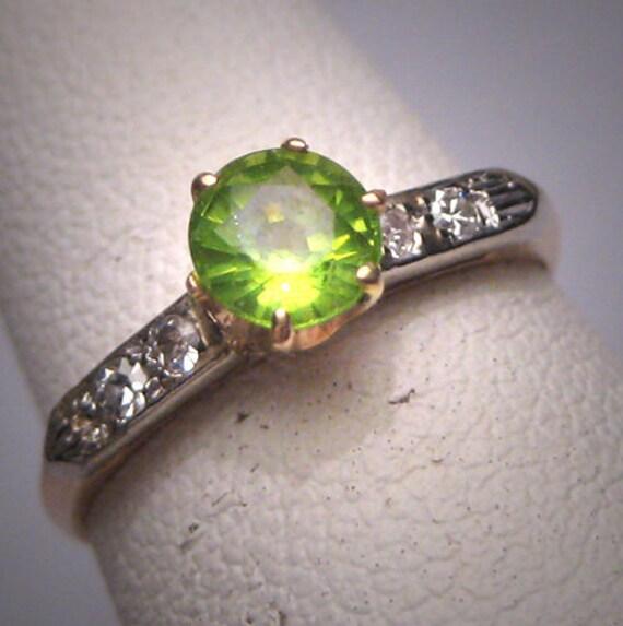 antique peridot wedding ring deco 14k vintage 20s