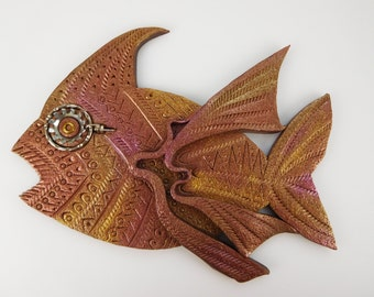 Large Steampunk Fish Magnet Retro 3D in Metalic Polymer Clay