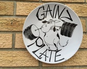 Cow Back Squat Gainz Plate. Hand painted Crossfit, Olympic Lifting, Gym Gains, Powerlifting, Fitness, Athlete, Bodybuilder Painface, Barbell