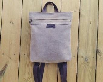Beige Backpack Bag, Laptop Backpack, Canvas Backpack purse, Canvas backpack, vegan backpack, women backpack, backpack for women, Laptop Bags