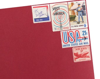 Special Delivery - Vintage Postage Stamps for 5 Envelopes