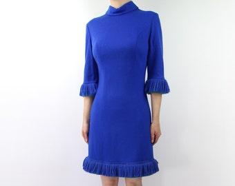 VINTAGE 1960s Dress Blue Fringe Short