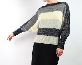 VINTAGE 1980s Batwing Sweater Striped Metallic Angora