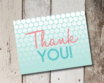 Digital Printable Spa Birthday Party Thank You Cards