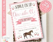 Cowgirl Birthday Invitation, Cowgirl Invitation, Cowgirl Party, Girl First Birthday, Girl Birthday, Printable Cowgirl Invite, Cowgirl Horse