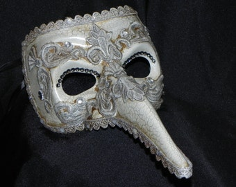 Ivory and Silver Plague Doctor Mask - Masquerade Mask - Venetian Mask
