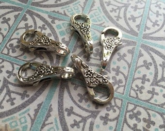 Victorian themed ornate scrolled Flower pattern antique SILVER plated large lobster claws 5 pcs