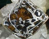 Seymchan Pallasite Meteorite Slice Pendant