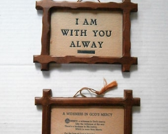 2 Vintage Swanson Product Religious Wall Hangers, MATT. 28:20 I Am With You Alway, A Wideness In God's Mercy