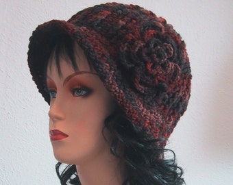 Cloche Hat with Flower - Earth colors - Hand Crocheted - Soft Acrylic Yarn - Handmade - Size Large