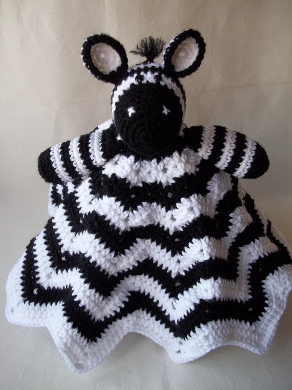 Crochet Zebra Blanket : Crochet Zebra Security Blanket, Black and White Afghan, Childs Lovey ...