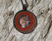Round Mosaic Pendant/Necklace with 24 Inch Chain