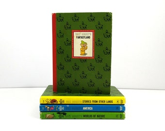 1965 The Wonderful World of Walt Disney Books - full set of 4 / Fantasyland, America, Stories from Other Lands, Worlds of Nature