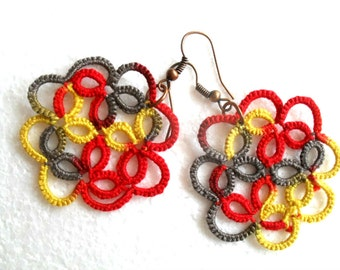 Lace earrings, multicolore earrings, tatting earrings, handmade earrings, handmade jewelry, multicolore jewelry, frivolite bijoux, tatted