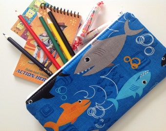 Ready to Ship Pencil Case, Zippered Pouch, Party Favor, Pencil Pouch, Back to School, Kids Pencil Pouch, Shark