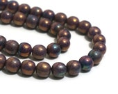 Czech Glass Beads, Metallic Peacock Bronze with Smoke Luster, 8mm round bead, 8 inch strand  (1175G)