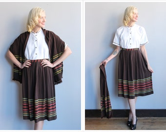1950s 3pc Set // Romanian Embroidered Set // vintage 50s blouse + skirt + scarf