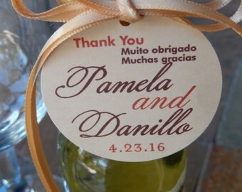 "Custom 2"" Thank You Wedding Favor Tags - For Mini Wine Bottles - Bridal Shower - Birthday or Anniversary Favors - (50) Printed Tags"
