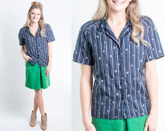 Vintage Navy Blue Green Pink Nautical Anchor Sailor Wheel Striped Print Buttondown Shirt Blouse Size Medium Large